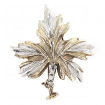 Broșă vintage din argint stilizată sub forma unei frunze de arțar | argint parțial aurit & cristale zirconium | 1980 -1990