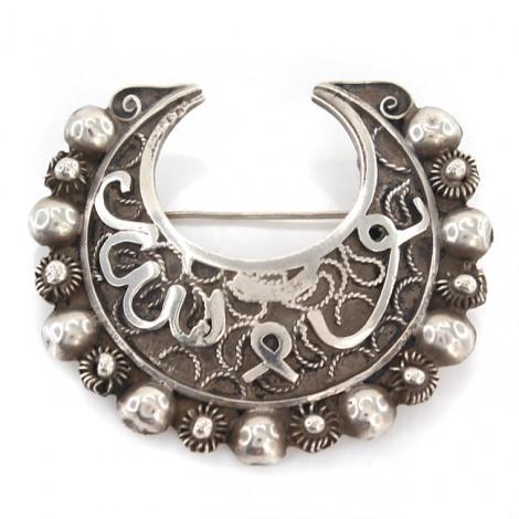 Veche broșă magrebiană elaborată sub forma unei semilune   Tanit   argint filigranat & granulat   Tunisia   prima jumătate a secolului XX