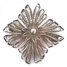 Veche broșă statement Art Deco manufacturată în argint filigranat | cca. 1920 -1930