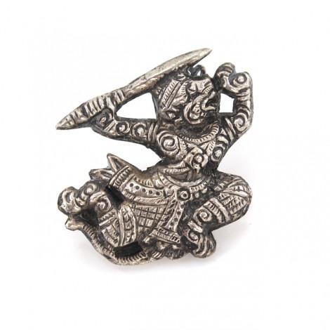 Veche broșă thailandeză stilizată sub forma unui dansator Khon   Hanuman   prima jumătate a secolului XX