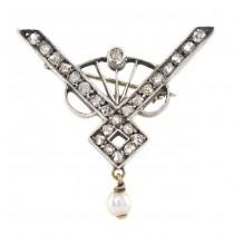 Broșă Art Nouveau decorată cu diamante naturale 1,5 ct | manufactură în aur & argint | Austria cca.1910