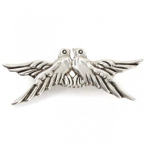 Broșă modernistă mexicană cu design de factură romantică | Love Birds | atelier Taxco cca.1980