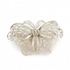 Veche broșă din argint stilizată sub forma unui fluture | manufactură | prima jumătate a secolului XX