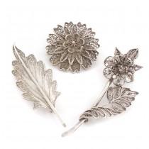 Lot de 3 broșe vintage manufacturate în argint filigranat | cca. 1950 -1960
