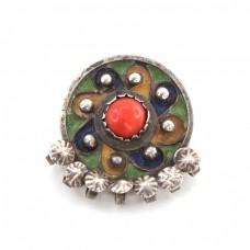 Veche broșă etnică Kabyle | manufactură în argint emailat & coral natural | Algeria | prima jumătate a secolului XX