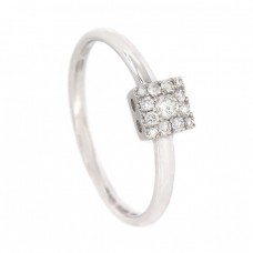 Inel de logodnă din aur alb 18 k & diamante naturale 0.14 CT   atelier Giorgio Visconti