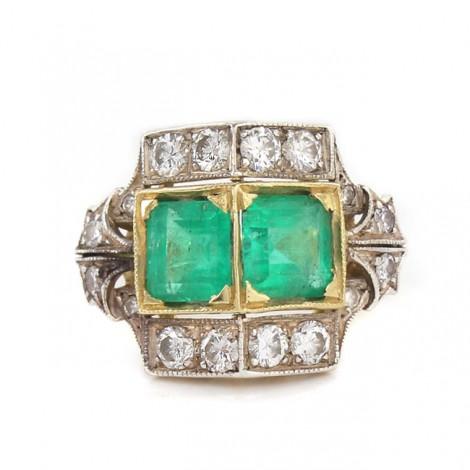 Inel Art Deco decorat cu smaralde naturale 2,66 CT și briliante naturale 1 CT   Franța cca.1920