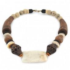 Colier statement decorat cu dinte de hipopotam și ceramică antică africană   Djenne  - Mali   colecția Ancient Beads by ArtAntik Gallery
