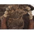 Colier statement decorat cu dinte de hipopotam și ceramică antică africană | Djenne  - Mali | colecția Ancient Beads by ArtAntik Gallery