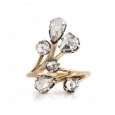 Inel Art Nouveau decorat cu diamante naturale 1.5 CT | manufactură în aur 18K și argint | Franța cca. 1890 -1910