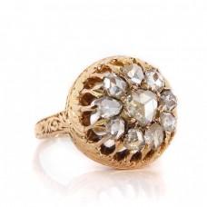 Inel victorian cu diamante naturale rose cut 0.90 CT | manufactură în aur roz 18K | cca. 1910