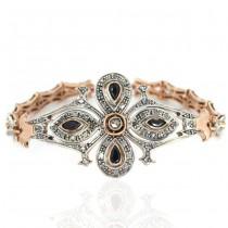 Brățară Art Deco abundent decorată cu diamante, safire și rubine | manufactură în aur roz și argint | cca.1920