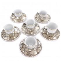 Serviciu Art Nouveau pentru servirea cafelei | argint & porțelan | atelier Wilhelm Binder | Germania cca. 1910