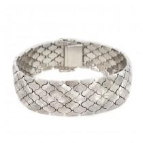 Elegantă brățară mesh din argint gravat & rodinat | atribuită atelierului UnoAErre | cca.1980
