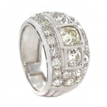 Inel Art Deco din platină cu diamante naturale 3.3 CT | diamant central 1 CT | cca. 1920 -1930