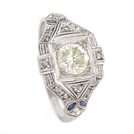 Inel Art Deco din platină cu diamante naturale 0.82CT   diamant central 0.75CT   Statele Unite cca. 1920