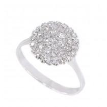 Rafinat inel cocktail din aur alb 18K decorat cu diamante 0.50 CT | a doua jumătate a secolului XX