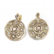 Cercei Art Deco decorați cu diamante naturale 0.50 CT | manufactură în aur și argint | cca.1930