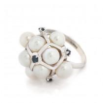 Inel cocktail din aur alb 14 k decorat cu perle și safire naturale | Statele Unite