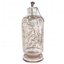 Decantor Art Deco din sticlă decorată cu argint & dop din argint masiv | Don Quijote | Spania cca. 1935 -1940
