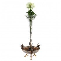 Centru de masă epergne decorat cu motive hipice | alamă & cristal gravat manual | Franța cca. 1920 -1930