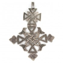 Veche amuletă coptică din argint gravat manual | Etiopia cca. 1940 - 1950