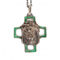 Colier cu pandant religios mid-century | argint & email | atelier Arezzo | cca. 1950 -1960