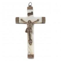 Vechi crucifix pectoral din argint și sidef natural | Franța anul 1896