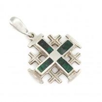 Pandantiv Crucea Ierusalimului din argint decorat cu pietre Eilat | Israel