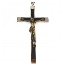 Vechi crucifix preoțesc din bronz argintat și lemn de  abanos | Franța cca.1900 - 1920