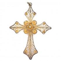 Pandant cruce din argint filigranat și aurit | manufactură de atelier portughez |  cca.1970