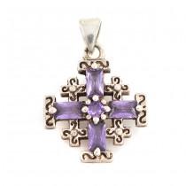 Rafinat pandantiv Crucea Ierusalimului din argint & ametiste de Bohemia