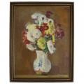 Pictură Petre Bedivan | Flori în canceu | ulei pe pânză | semnat și datat 1975