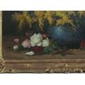 Pictură Elena Muller - Stăncescu | Sânziene și trandafiri | ulei pe carton | lucrare atribuită