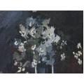 Pictură veche românească |  Flori de primăvară în carafă | ulei pe carton | cca. 1940 - 1960