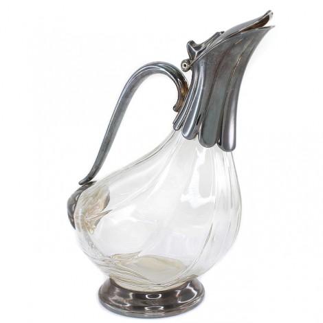 Elegant decantor modernist  elaborat în stil de inspirație Art Nouveau | alamă argintată & cristal | Franța cca.1960