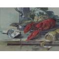 Pictură Elena (Helene) Bednarik | Natură moartă cu homar | semnat și datat 1903