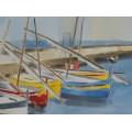 Pictură marină Florin Ferendino | Bărci catalane | semnată și datată 2005