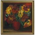 Pictură Maria Dumitrescu    Crizanteme   semnată și datată 1977