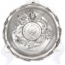 Vide-poche din argint decorat cu monedă 1 taler 1786 Frederich II al Prusiei | atelier Richard Garten | Germania cca. 1880 - 1890