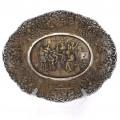 Bol Historismus din bronz argintat decorat cu scene de tavernă și petrecere | Germania -  secol XIX