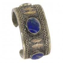 Veche brățară etnică turkmenă | Bilezik | triburile Tekke | aliaj de argint & lapis  lazuli | Afganistan cca.1900