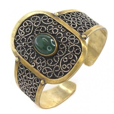 Brățară statement Ottoman Revival decorată cu jadeit verde | metaloplastie în alamă & cupru argintat | cca.1970