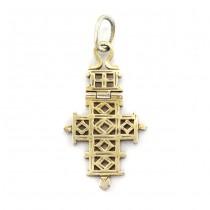 Pandant cruce coptică din argint înnobilat prin suflare cu aur galben | Etiopia cca. 1950