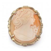 Broșă - pandant din argint aurit & decorat cu o camee naturală | Italia cca. 1950 -1970