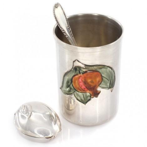 Garnitură din argint pentru cadoul de botez: pahar, linguriță & cutiuță | Italia cca. 1960 -1970
