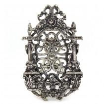 Ramă foto miniaturală din argint minuțios elaborată și decorată în stil Rococo