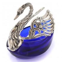 Bol pentru condimente rafinat stilizat sub forma unei lebede din argint & sticlă cobalt | atelier Agostini Mario | Firenze cca. 1960