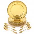 Serviciu de farfurii și lingurițe din argint aurit pentru servirea deserturilor | In Te Domine Confido | atelier Crippa - Milano | primele decade ale secolului XX