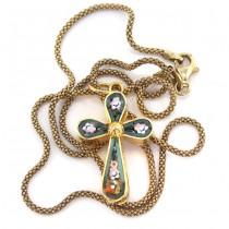 Colier religios din argint aurit accesorizat cu o cruciuliță intarsiată cu micromozaic venețian | Italia